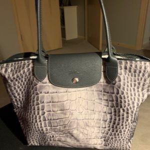 """Longchamp gray """"animal print"""" bag"""